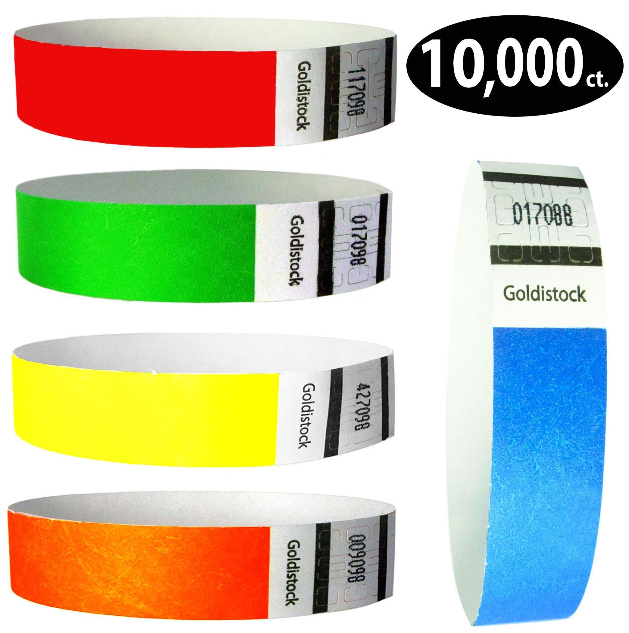 Goldistock 3/4'' Tyvek Wristbands Rainbow 10,000 Ct. Variety Pack- 2,000 Each: Neon Blue, Green, Yellow, Orange, Red