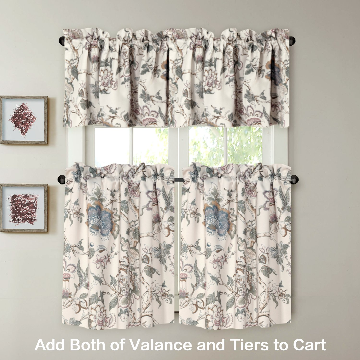 H.VERSAILTEX Window Valance Rustic Style Ultra Soft Material Suits Kitchen Bath Laundry Bedroom Living Room (Rod Pocket, 58 15 inch, Vintage Floral Pattern in Sage Brown, Set of 1) by H.VERSAILTEX (Image #3)