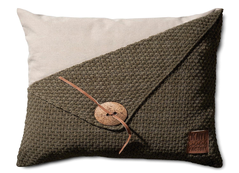 Knit Factory Dekokissen Strickkissen Reiskorn   60 x 40 cm Grau (mit Füllung) B00IKES4QA Zierkissen