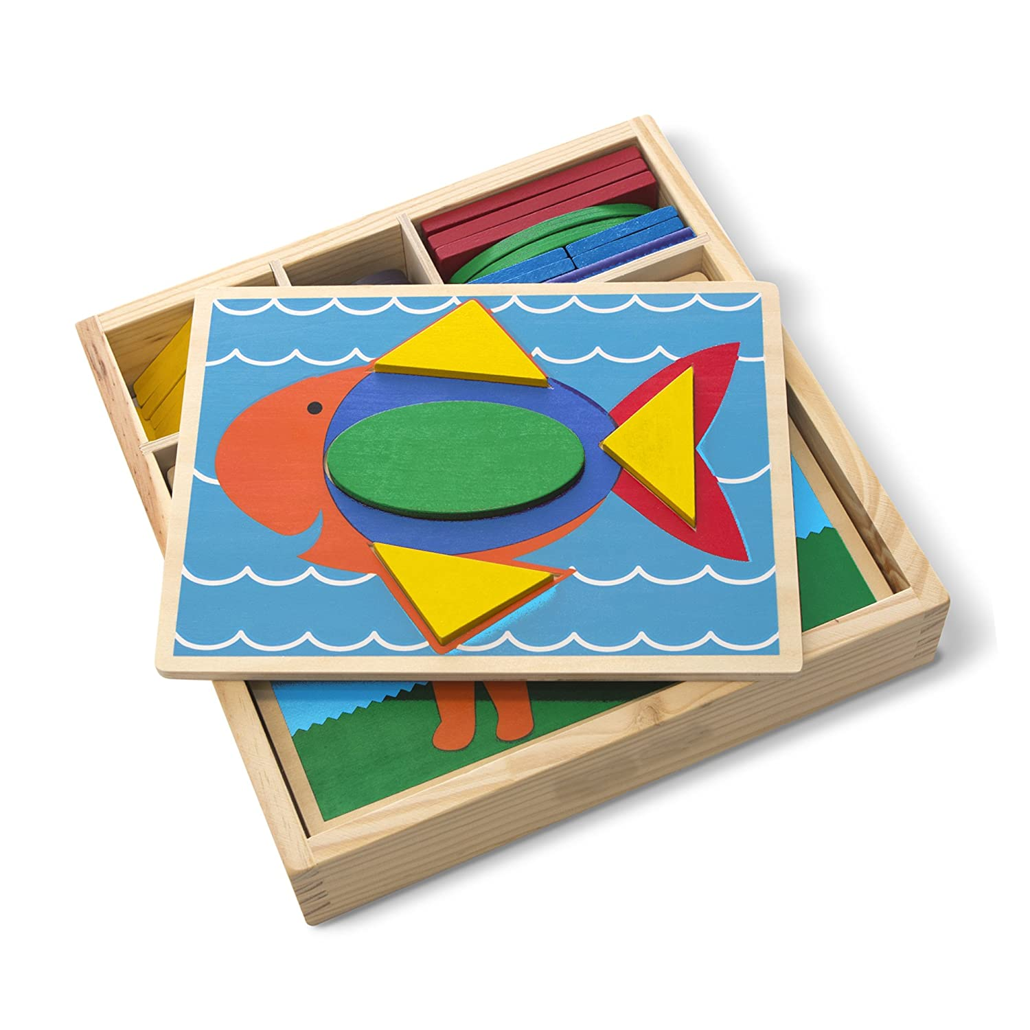 """Melissa /& Doug Beginner Wooden Pattern Blocks Educational Toy 10.65/"""" H x 10.65/"""" W x 2.3/"""" L 5 Double-Sided Scenes and 30 Shapes"""
