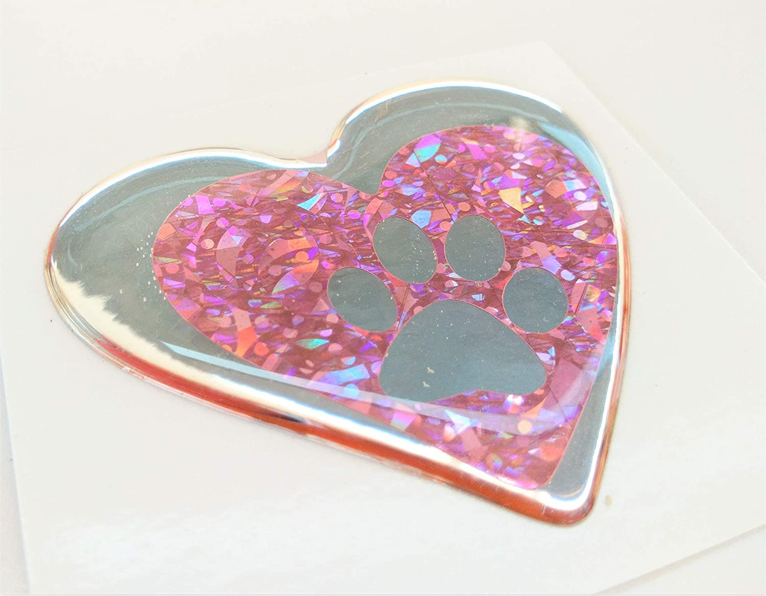 Domed 3D Dog Cat Tiger Cute Lovely Paw Domed Pink Reflective Holographic Decals Decal Safety Silver Chrome Foot Dog Footprint Lover Animal Love Heart Sticker Vinyl Sport Motorbike Helmet Motorcycle Laptop Notebook Mac Phone Mobile Bike Racing Car Decal Bad