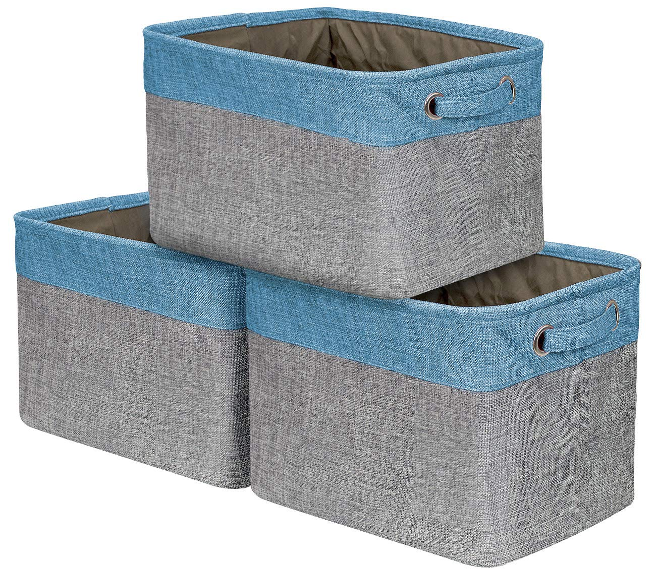 Sorbus Storage Large Basket Set [3-Pack] - 15 L x 10 W x 9 H - Big Rectangular Fabric Collapsible Organizer Bin Carry Handles Linens, Towels, Toys, Clothes, Kids Room, Nursery (Aqua)