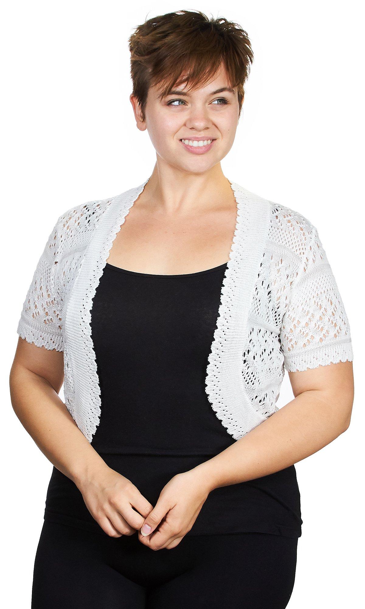 Knit Minded Womens Womens Acrylic Pointelle Knit Bolero Jacket, White, Large