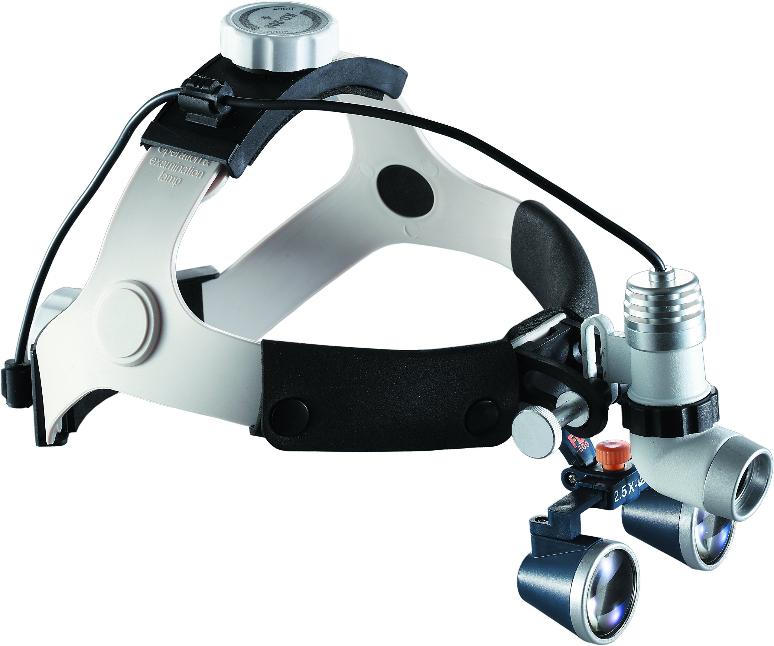 Medical Dental Surgical Binocular Loupes with LED Light High Brightness Lamp for Surgery Vascular (Working Distance: R(420 mm), Magnification: 3.5X
