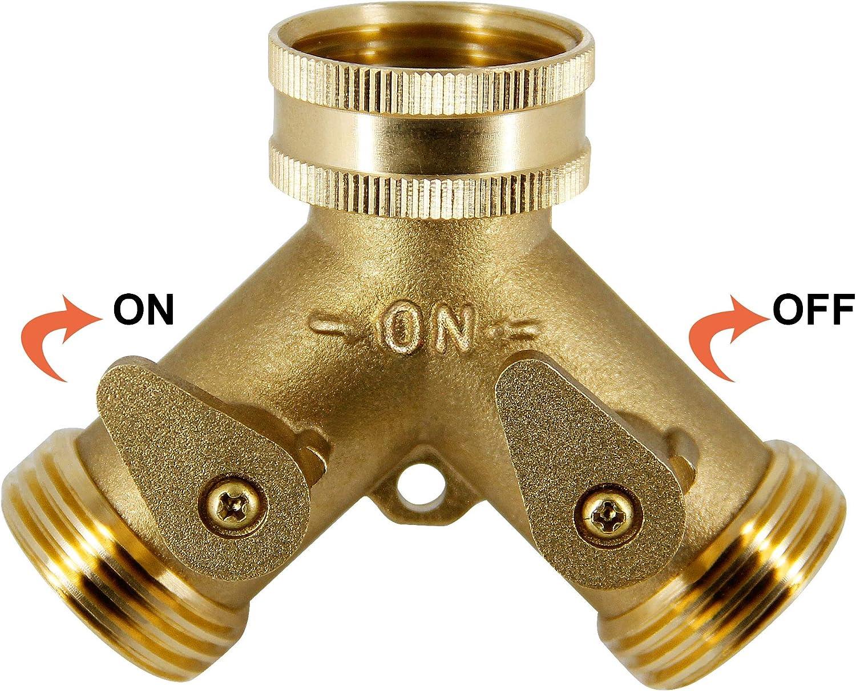 "ATDAWN 2 Way Brass Hose Splitter, 3/4"" Brass Hose Connectors, Y Connector Garden Hose Adapter : Garden & Outdoor"