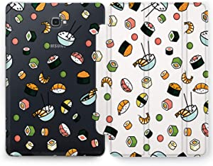 Wonder Wild Case Compatible with Samsung Galaxy Tab Sushi Set S4 S2 S3 A S6 Lite S5e S7 Plus Cover 8 Pen 9.7 10.1 10.5 Inch Clear Design Asian Food Rice Shrimps Red Fish Roll Caviar Spicy Exotic Cute