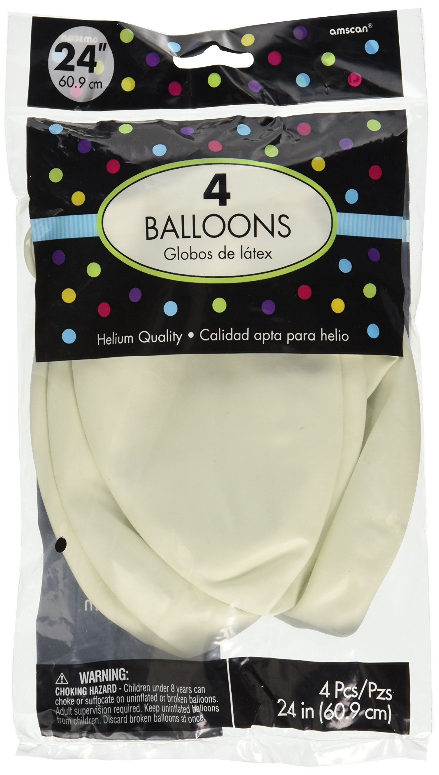 Party Perfect Round Latex Balloons Decoration, Saver Pack Of 4 (Each Includes 4 Pieces),  Latex, White, 24'' by Amscan