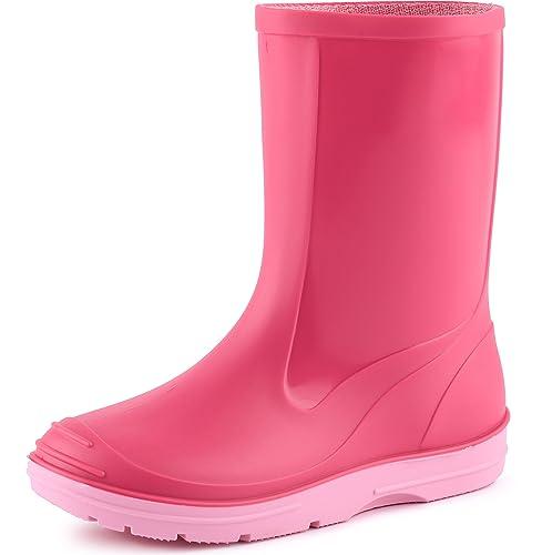 Ladeheid Botas de Caucho de Goma Zapatos de Seguridad Unisex Niños PA120P (Rosa Neón,