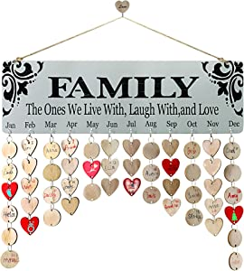 YuQi Family Friends Calendar Wood Wall Hanging Plaque Family Friends Birthday Gifts DIY Reminder Wall Calendar Board for Home Decor(Family Print Font)