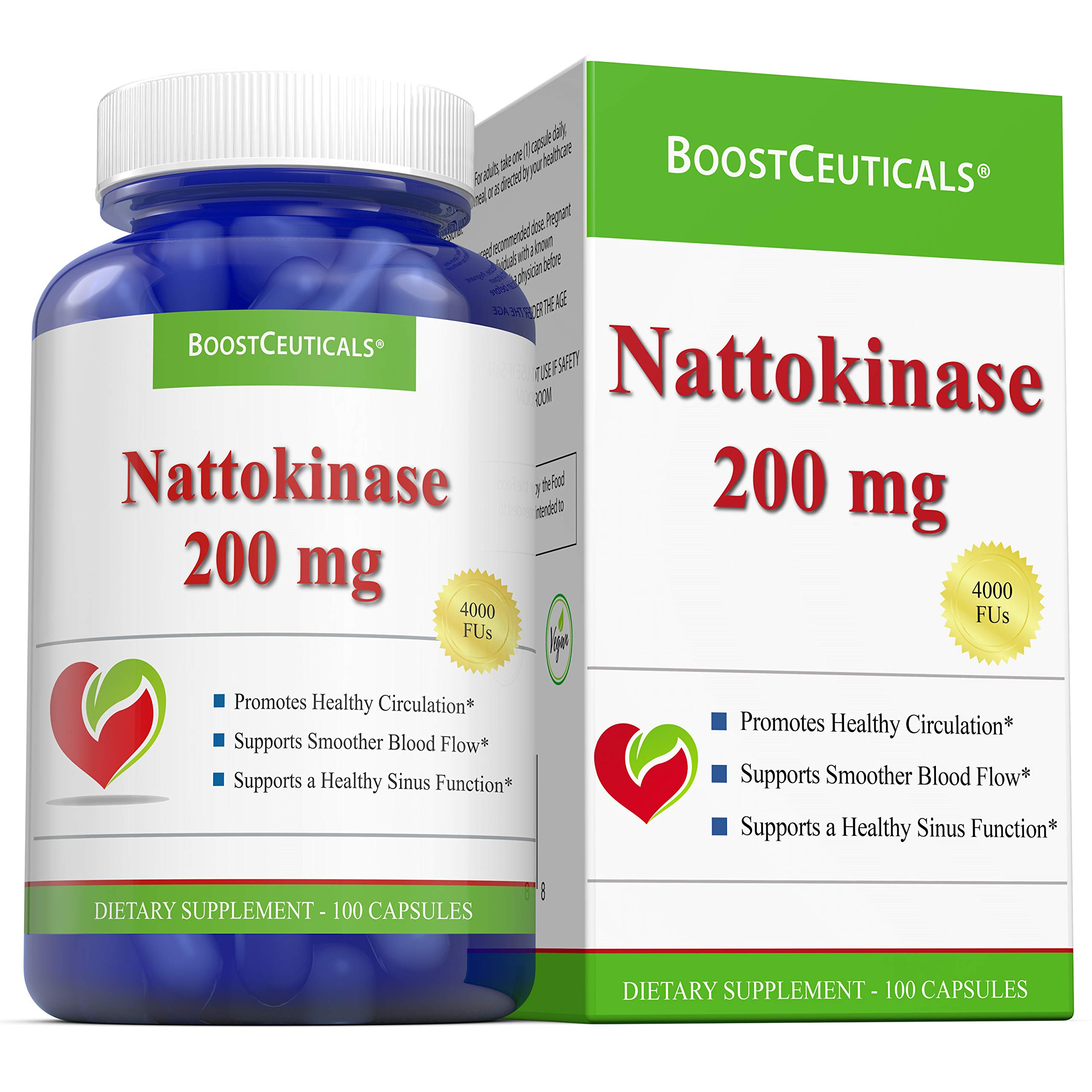 BoostCeuticals Nattokinase 100 200 mg Vegan No Stearates No Additives 4000FU Supplement – Non GMO Gluten Free Pure Natural Blood Thinner (Over 3 Months Supply)