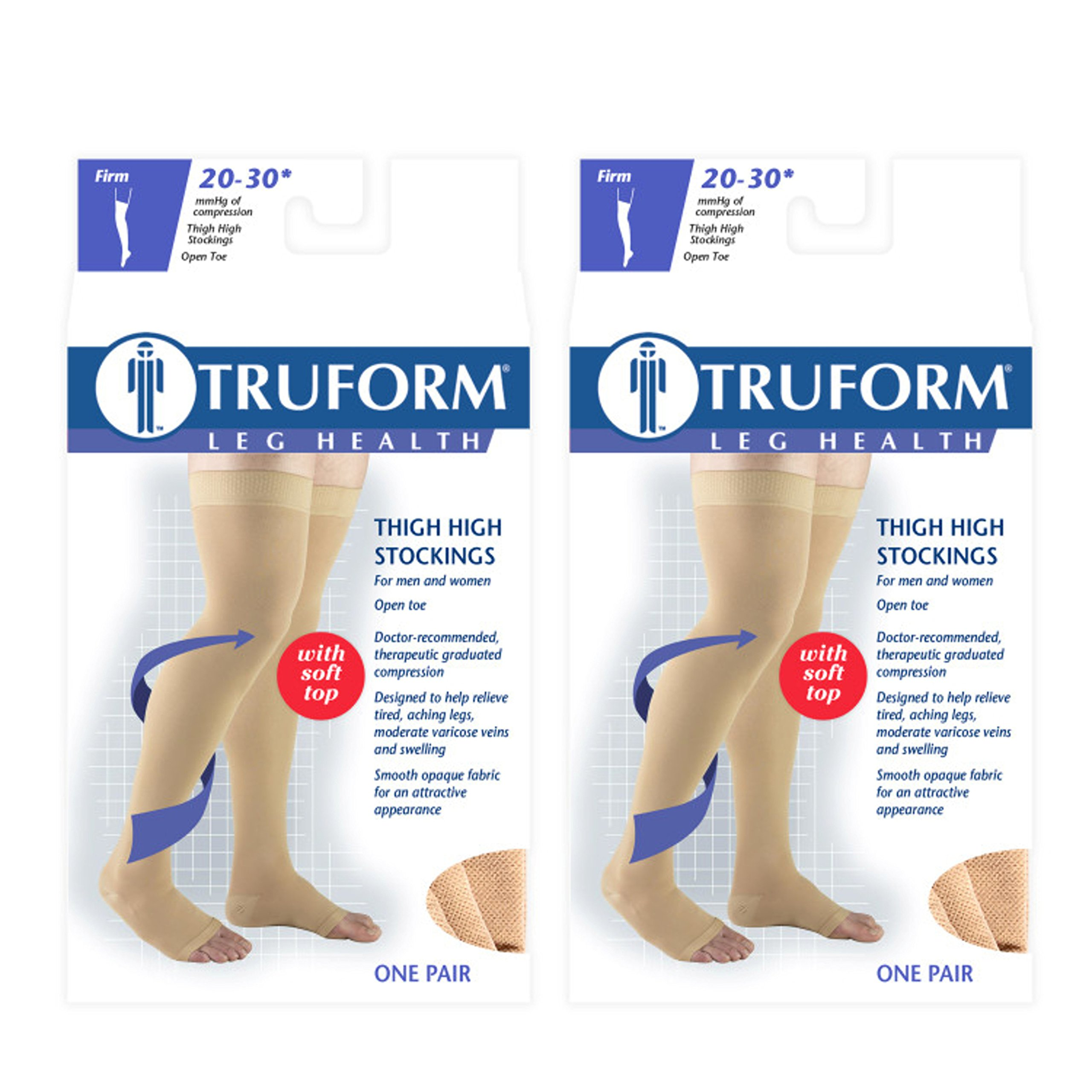 Truform Compression 20-30 mmHg Thigh High Open Toe Stockings Beige, X-Large, 2 Count by Truform (Image #1)