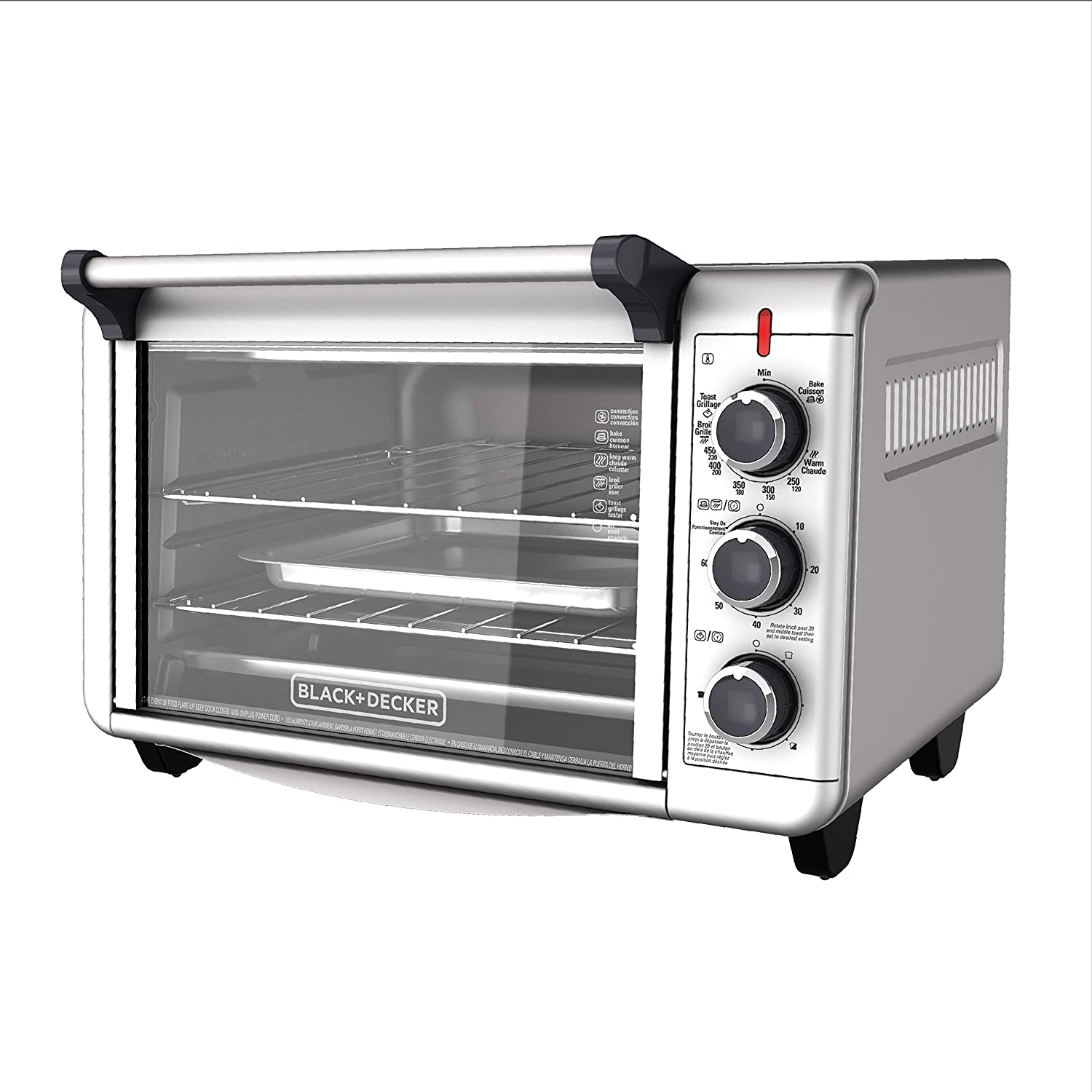 BLACK+DECKER TO3000G 6-Slice Convection Countertop Toaster Oven - Silver