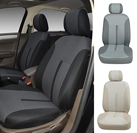 Amazon Com N16101 Black Fabric 2 Front Car Seat Covers Compatible