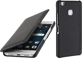 StilGut Book Type Case con clip, custodia in vera pelle a libro per Huawei P9 Lite, nero nappa