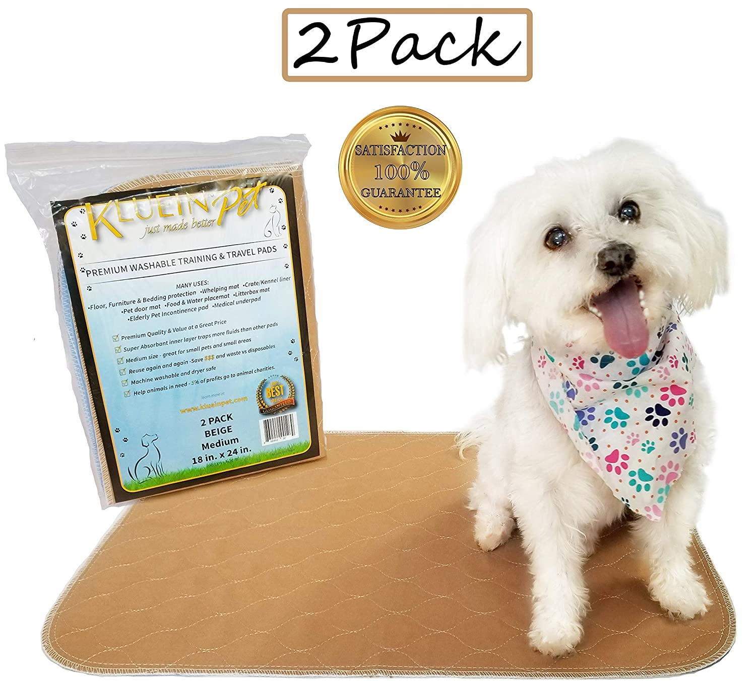 Beige Kluein Pet Washable Dog Pee Pads, Absorbent Waterproof Reusable Puppy Pads, Beige 2-Pack 18 x 24 inch, Pet Food Mat, Dog Crate Mat, Cat Mat, Potty Training, Travel