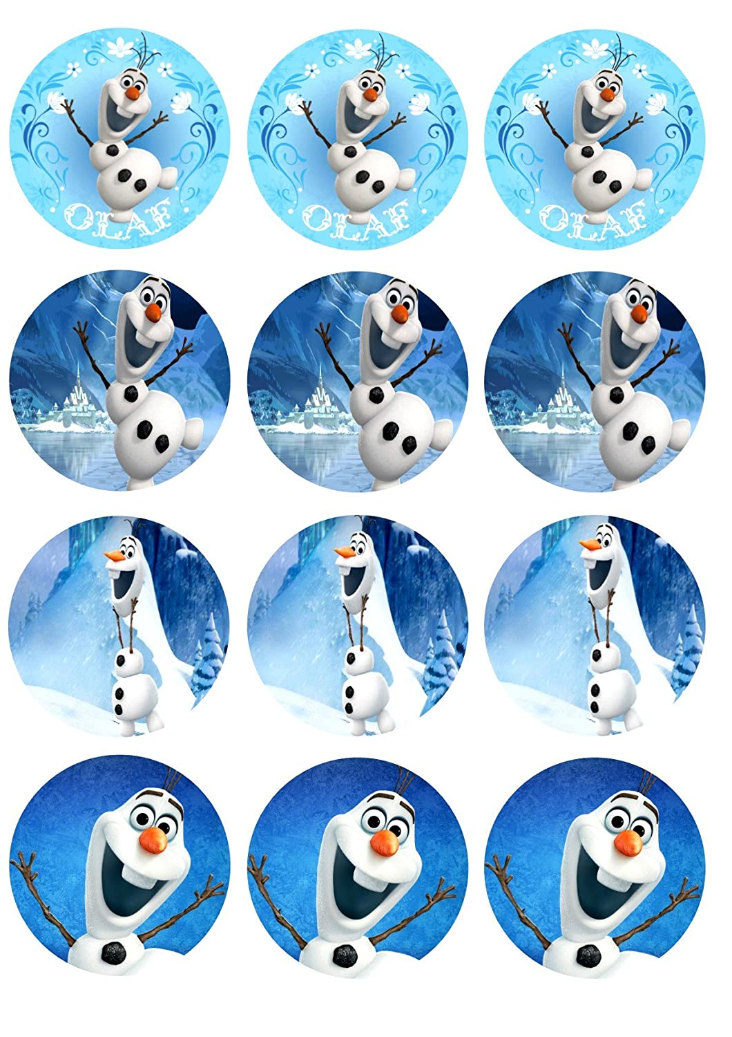 Amazoncom Edible Cupcake Toppers Olaf Kitchen Dining