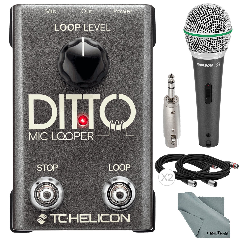 TC-Helicon Ditto Microphone Looper and Accessory Bundle w/Samson Q6 Mic + Fibertique Cloth + 3P XLR to 6.35mm Stereo Plug Adapter + Xpix XLR Cable