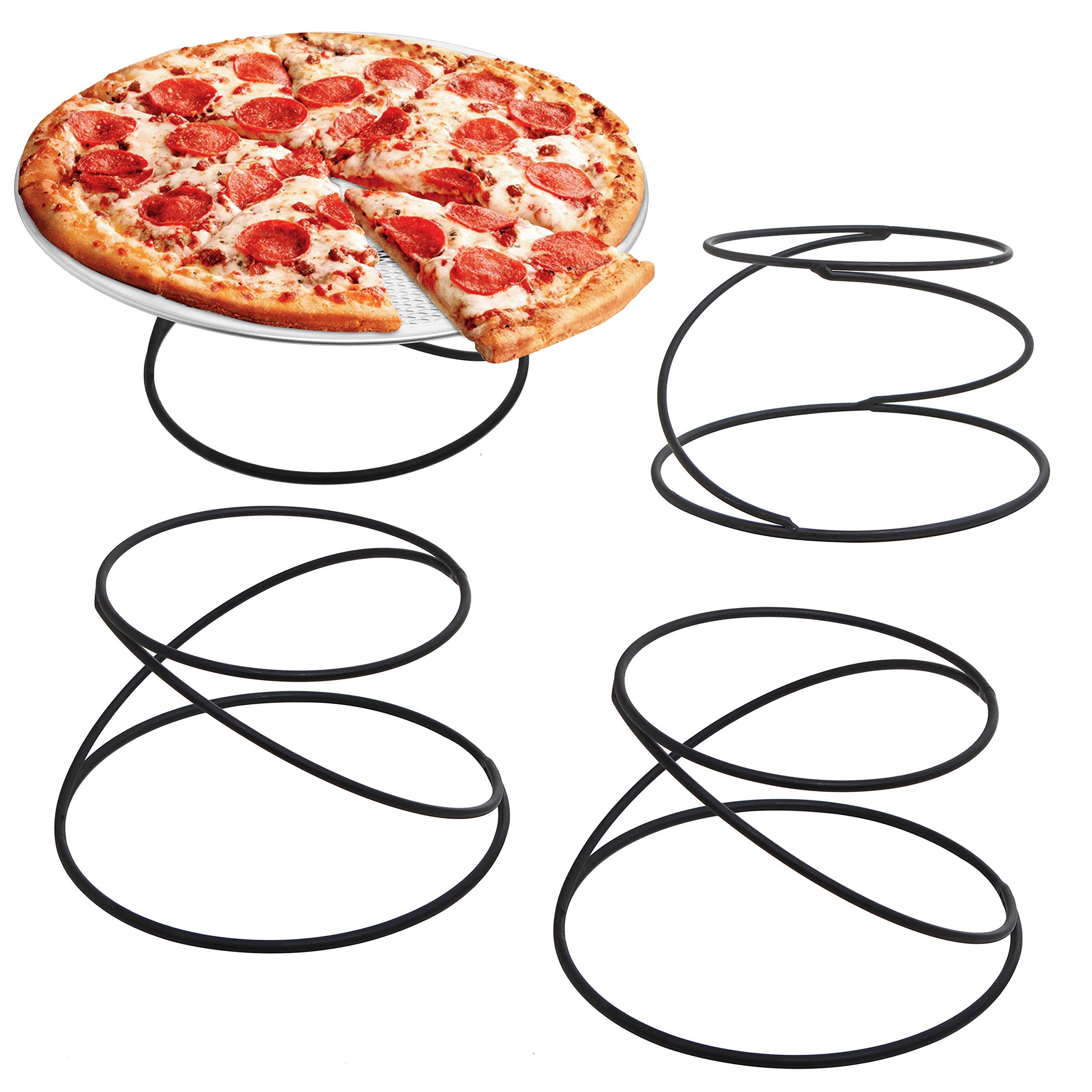 MyGift Set of 4 Metal Spiral Wire Tabletop Pizza Tray Stands, Black by MyGift (Image #1)