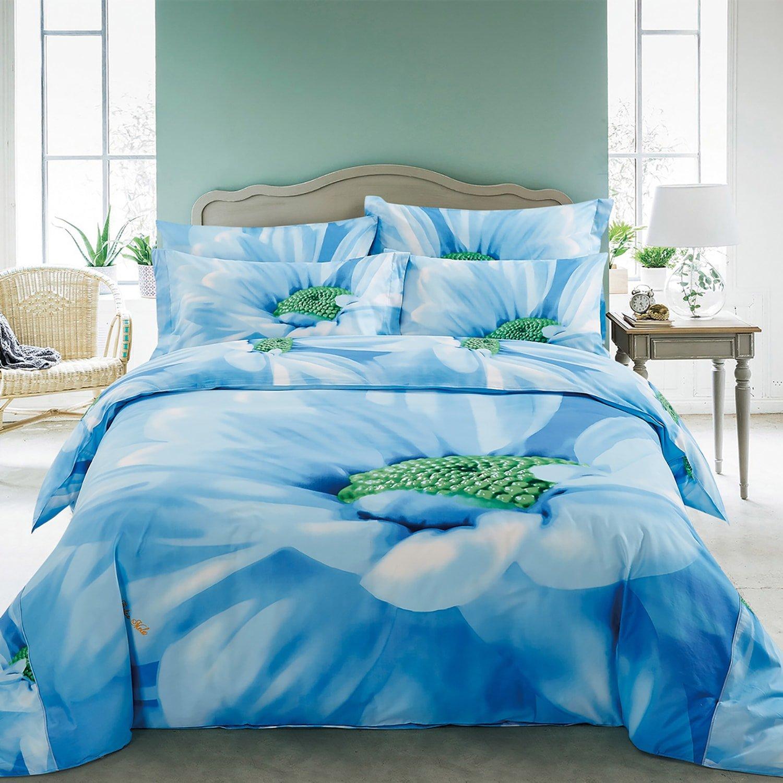 Amazon.com: DM511Q Dolce Mela Floral Bedding - Azure, Luxury Queen ...