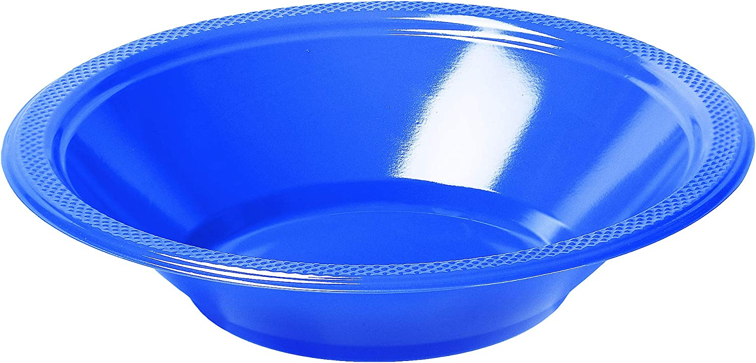 Blue, 24 Evelyn Living Disposable Plastic Bowls 7 Inch Dessert Soup Bowl Catering Party Wedding Birthday BBQ Strong