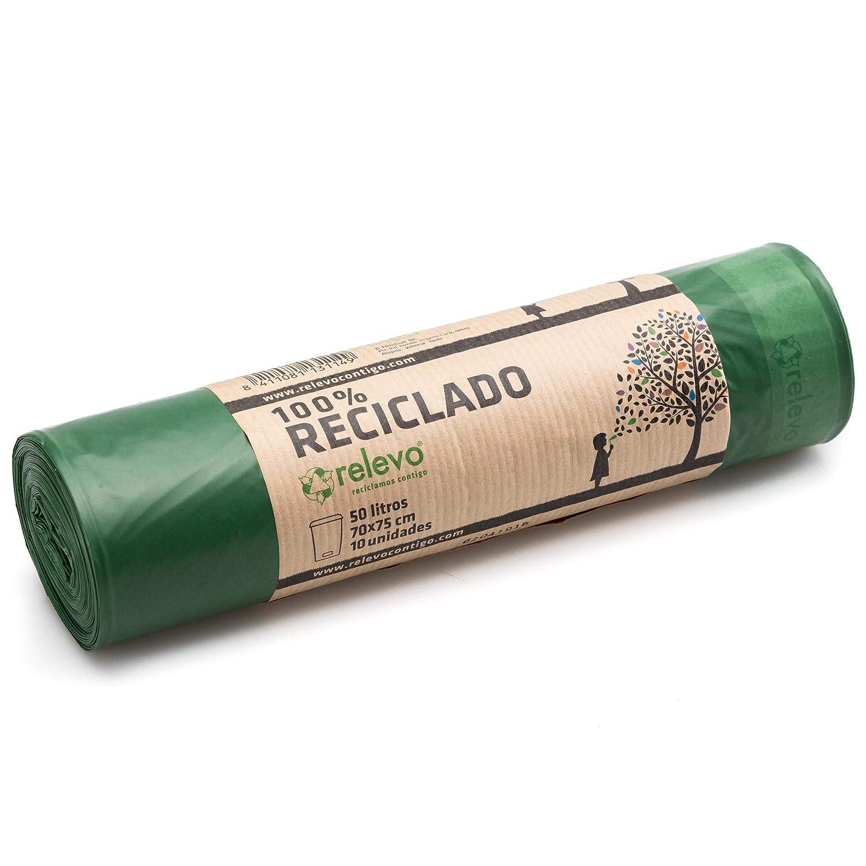 Relevo 100% Reciclado Bolsas de Basura, extra resistentes 50 L, 10 bolsas