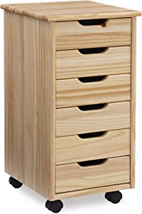 Linon Home Decor Products Corinne Six Drawer Storage, Natural Rolling Cart