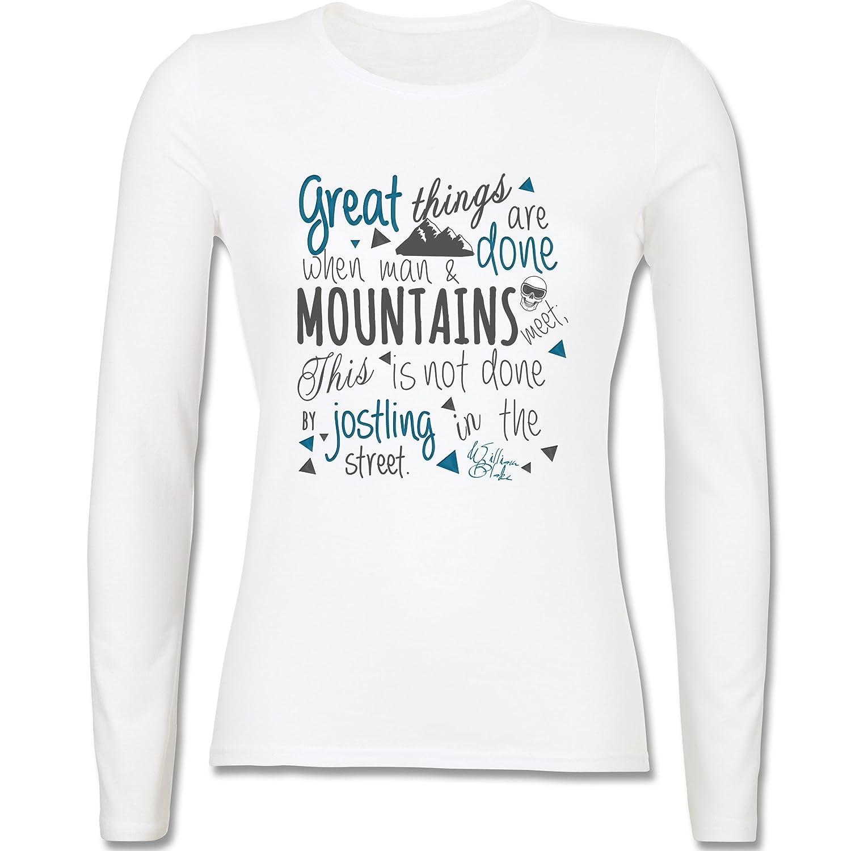 Après Ski - Great things happen Mountain - tailliertes Longsleeve / langärmeliges T-Shirt für Damen