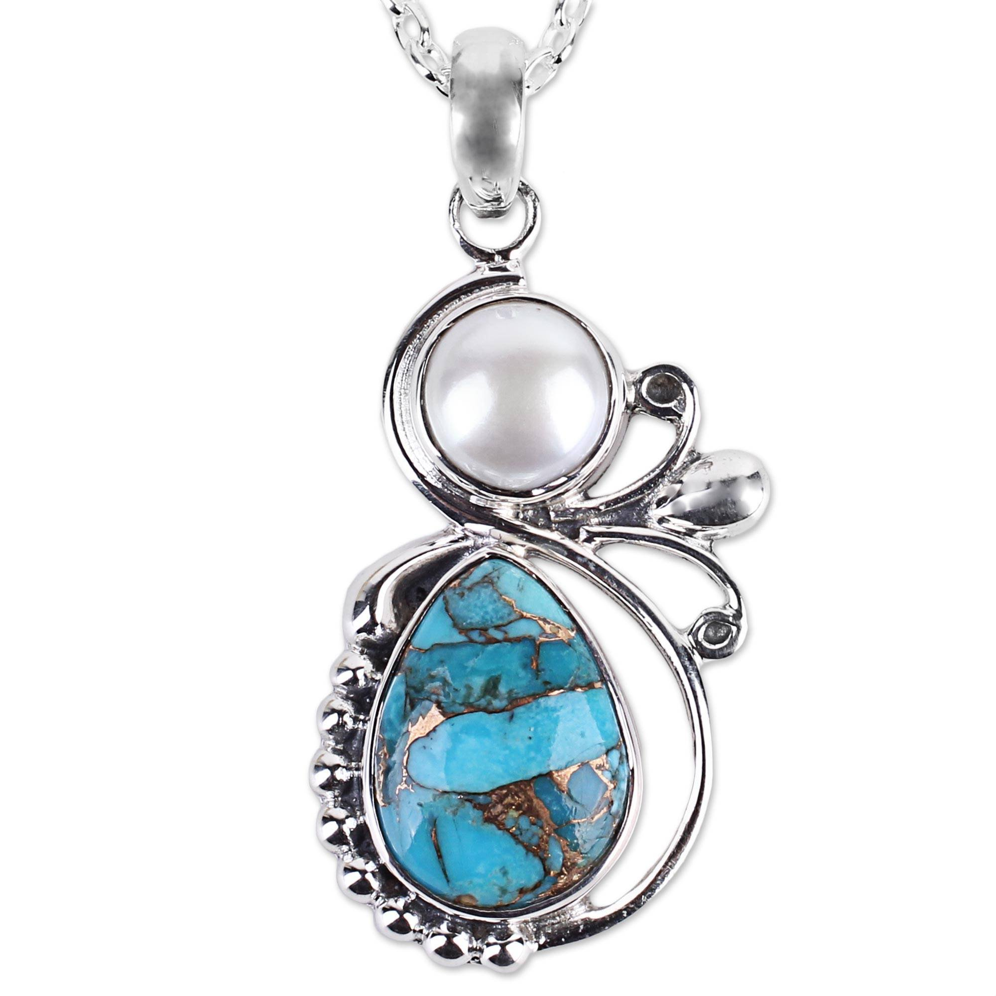 NOVICA Reconstituted Turquoise Cultured Freshwater Pearl Sterling Silver Necklace,'Joyous Blue Sky'