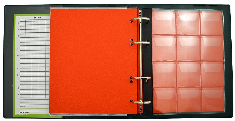 COLLECTOR Album di Monete da Collezione con Diverse Pagine munite di divisori con Elenco Album per 221 Monete Verde per Monete di Varie Dimensioni