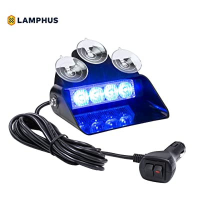 SolarBlast SBWL14 4W BLUE LED Warning Strobe Dash Light [32 Flash Modes] [Adjustable Angle] [Suction Cups] Blue Flashing Emergency Dash Windshield Light for Volunteer Firefighter Truck Vehicles: Automotive
