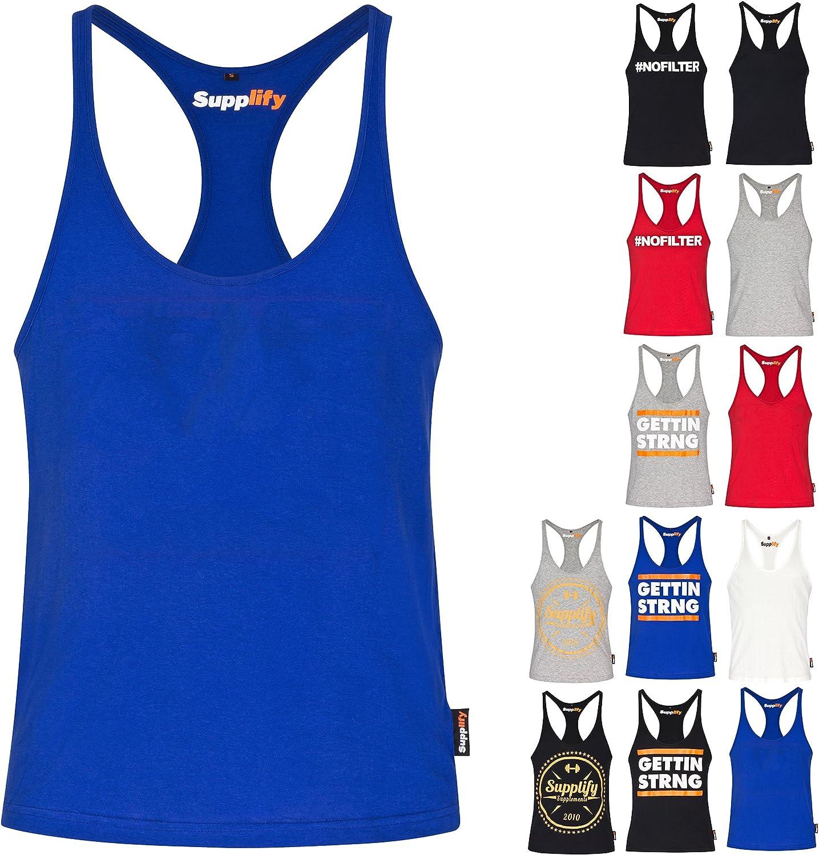 Camiseta de tirantes para bodybuilding, para hombre, sin mangas, 100 % algodón ecológico, Supplify, Basic Blau, small: Amazon.es: Deportes y aire libre