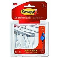 Command 17002-MPES 24-Hooks 28-Strips Hooks Mega Pack, Small, White