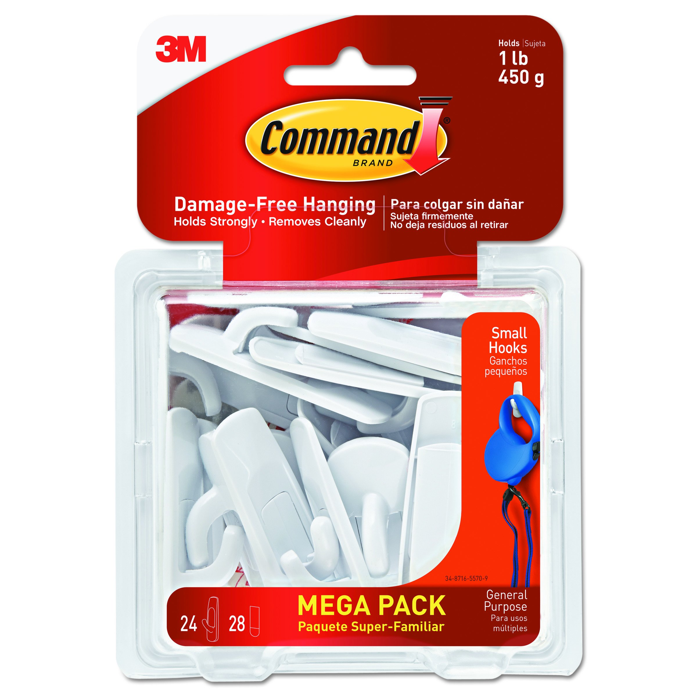 Command Small Utility Hooks Mega Pack, White, 24-Hooks (17002-MPES) by Command