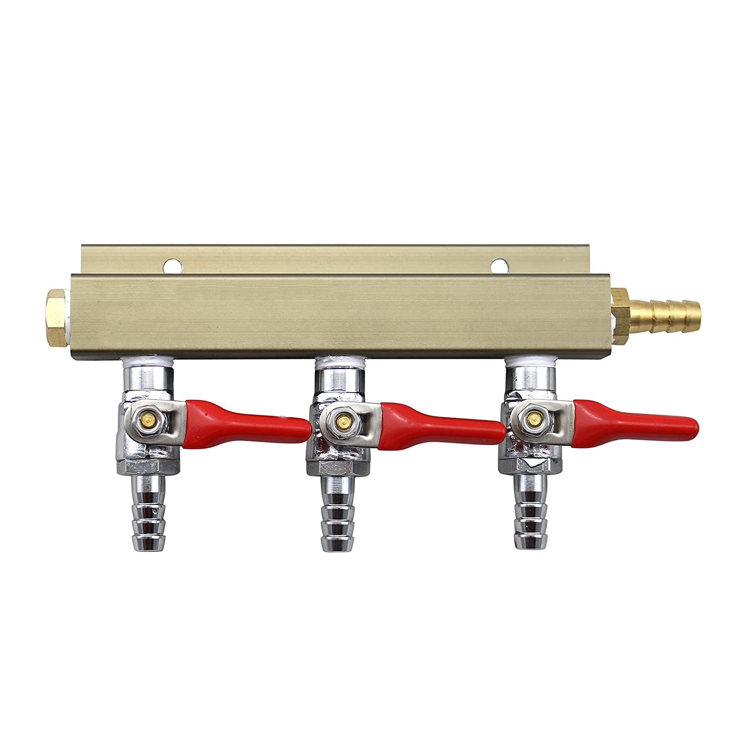 """The Weekend Brewer 3-way 5/16"""" Barb CO2 Distributor Manifold with integrated check valves"""