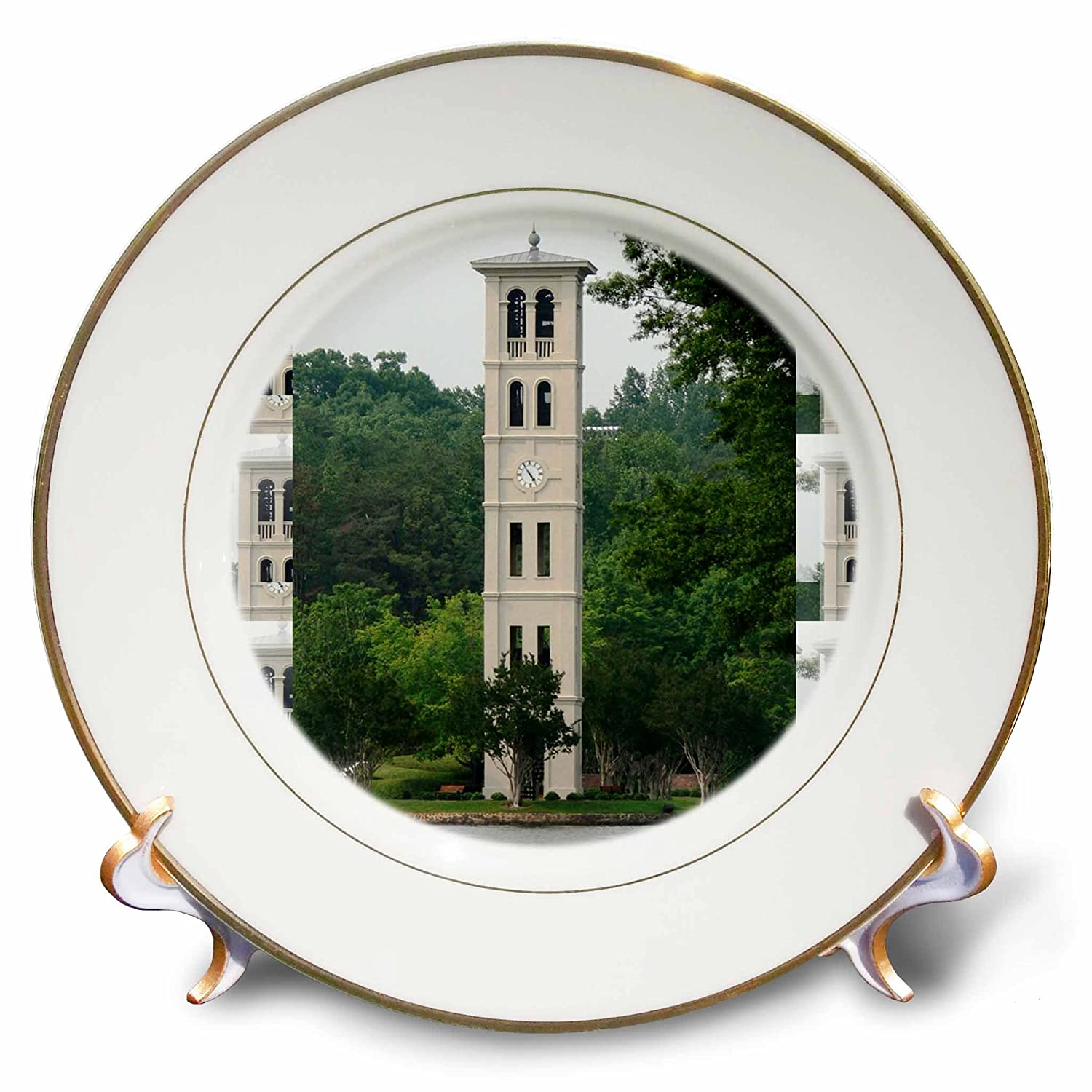 Greenville Porcelain Plate 8-Inch 3dRose cp/_61719/_1 Bell Tower at Furman University