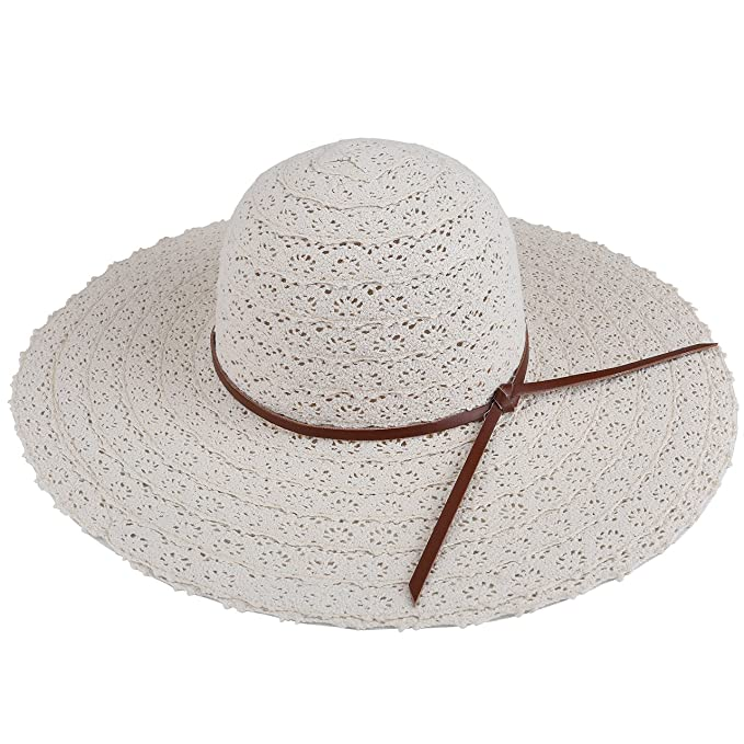 6e8c4876653 CHIC DIARY Women Lace Large Brim Bucket Hat Summer Beach Sun Cap with PU  Bowknot (