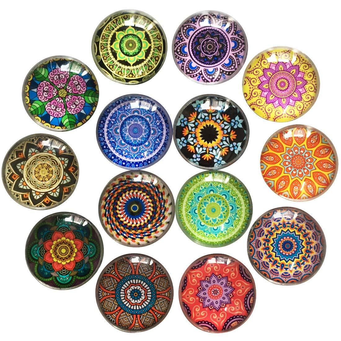 DIYSELF 14Pack Glass Fridge Magnets Refrigerator Magnets Office Magnets Small Magnets Colorful Decoration Magnets for Whiteboard