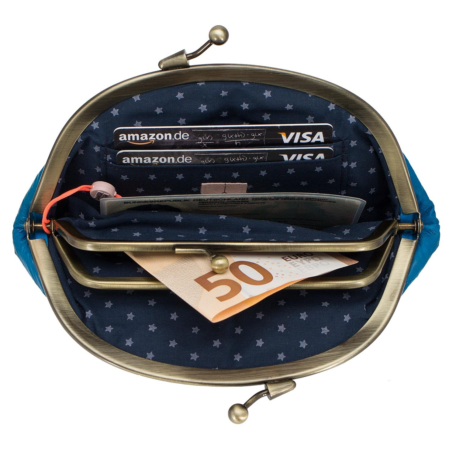 Becksondergaard Purse Tourquoise Leather Wallet Granny for Women made of Eel Skin Notes Coin Card Holder Purse 100001-512