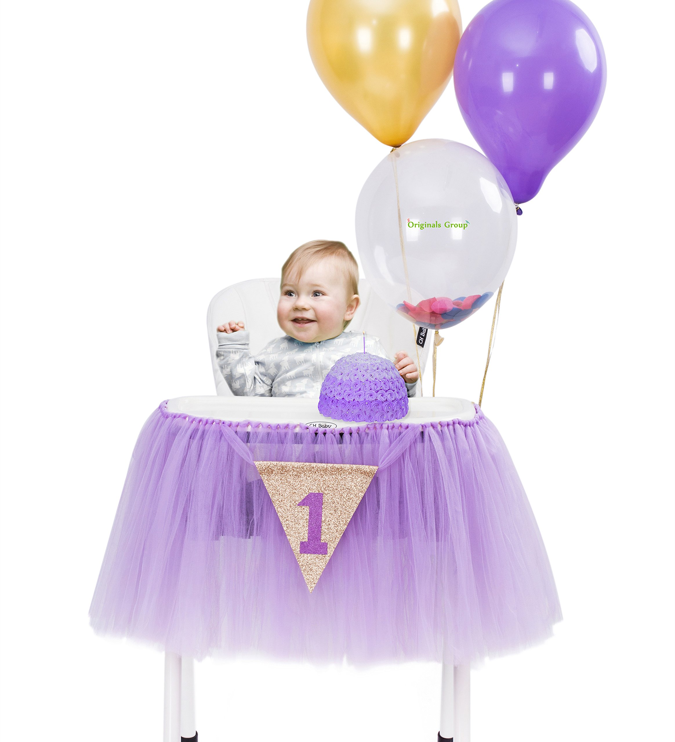 Originals Group 1st Birthday Originals Group 1st Birthday Frozen Tutu for High Chair Decoration for Party SuppliesTutu for High Chair Decoration for Party Supplies (Lavender)