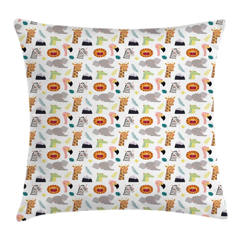 Lunarable Animal Print Throw Pillow Cushion Cover, Cartoon Pattern of Zebra Giraffe Elephant Flamingo Gator Lion Nursery Themed, Decorative Square Accent Pillow Case, 28'' X 28'', Multicolor by Lunarable
