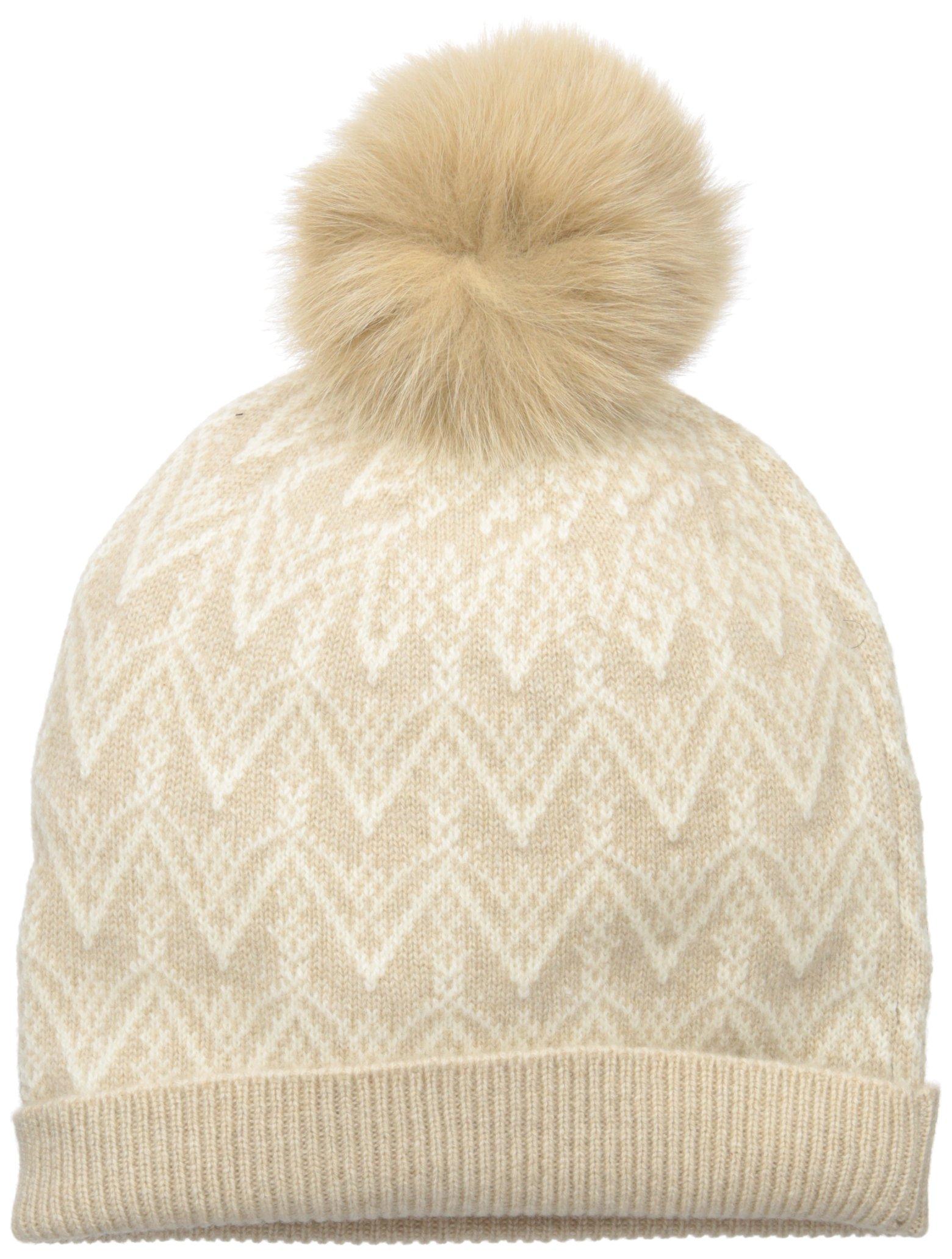 Sofia Cashmere Women's 100% Cashmere Fairisle Hat with Fox Fur Pom, Oatmeal/Ivory, One