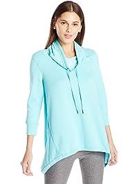 Calvin Klein Womens 3/4 Sleeve Sharkbite Cowl Neck Pullover Sweatshirt