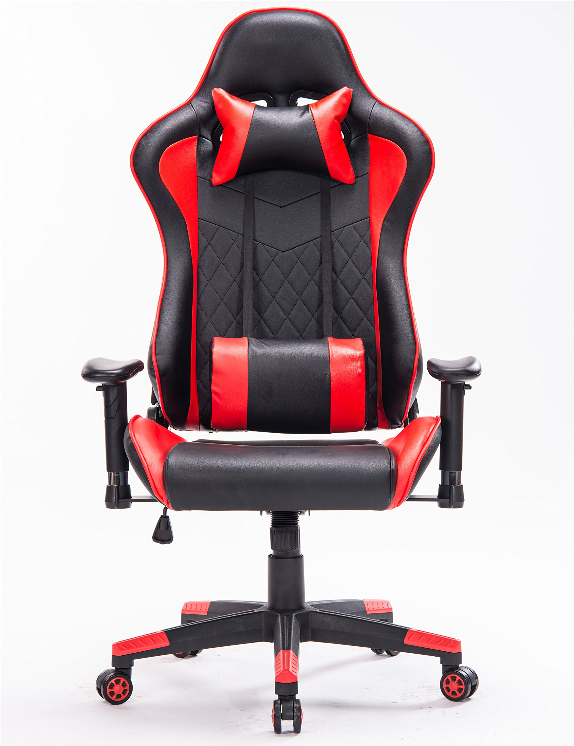 Ergonomic Gaming Chair PC Game Computer Office Chair with Footrest (Red/Black,1)