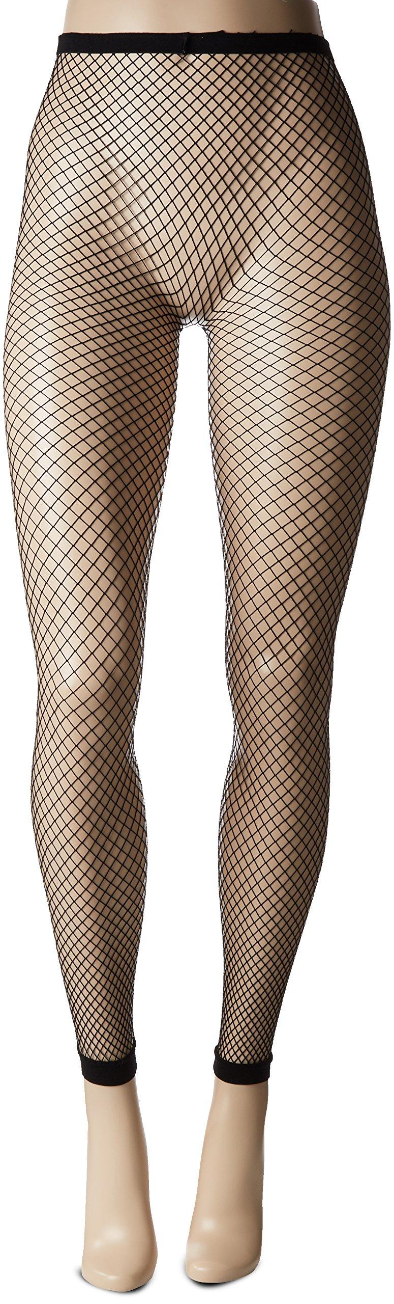 HUE Women's Footless Fishnet Tights, Black, M/L