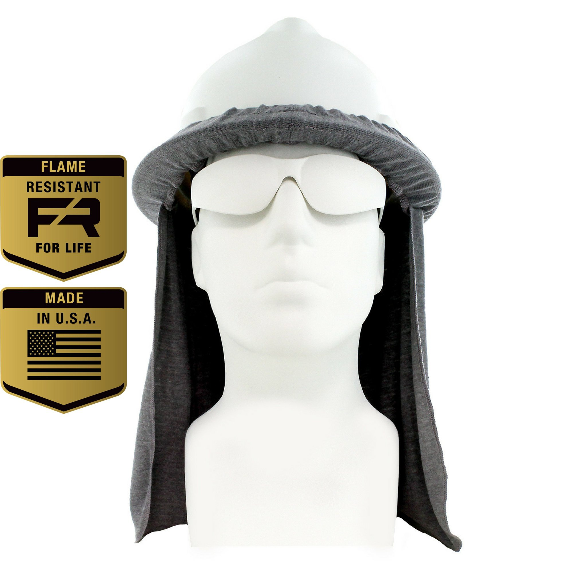 Flame Resistant FR Hard Hat Neck Shade, Sol Shade, Lt. Gray, One Size Fits All Hardhats (Light Gray) by Benchmark FR