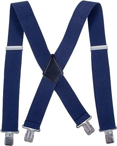 Tirantes de pantalón de hombre de 50 mm de ancho - X forma ajustable de alta resistencia elástica con fuertes clips de metal(Azul marino): Amazon.es: Ropa y accesorios