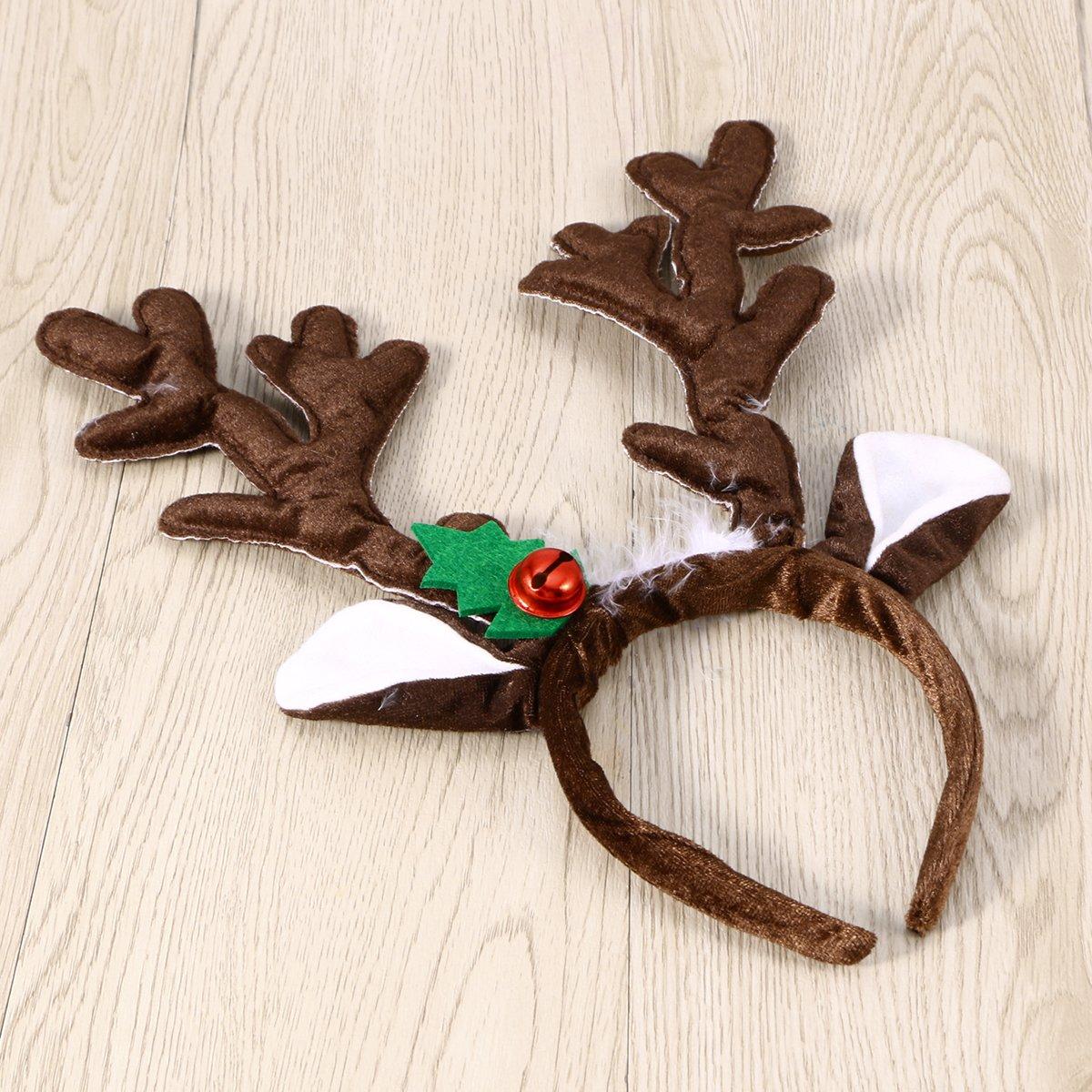 Toyvian Diadema de Asta de Alces Ciervo de Navidad con Campana para Disfraz de Navide/ño de Adultos y Ni/ños Marr/ón
