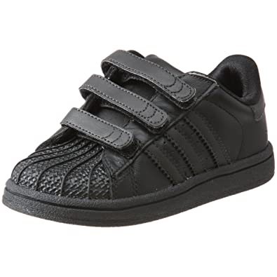 adidas Superstar 2 Comfort Basketball Shoe (Infant/Toddler),Black/Black/