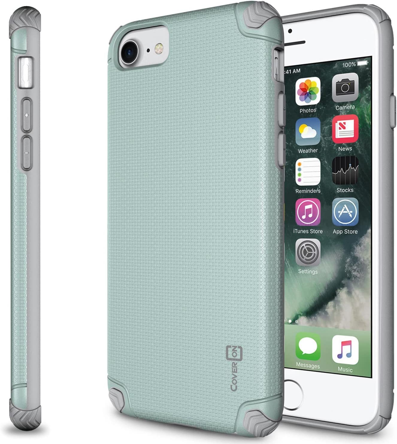 CoverON Slim Grip Designed for Apple iPhone SE Case (2020) / iPhone 8 Case, Dual Layer Hybrid Phone Cover - Powder Blue