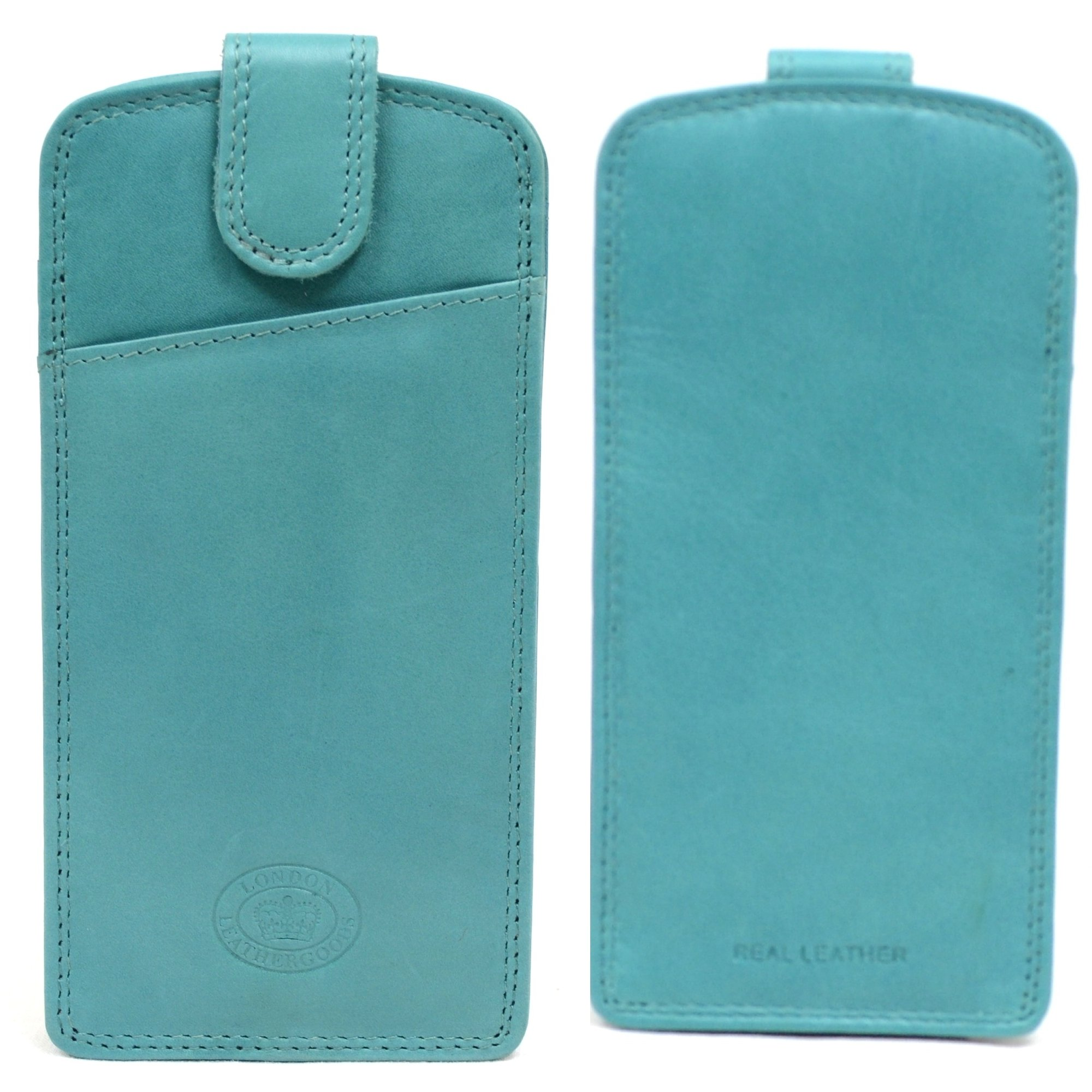 Mens / Ladies / Womens Soft Leather Slim Glasses Case / Pouch - Turquoise